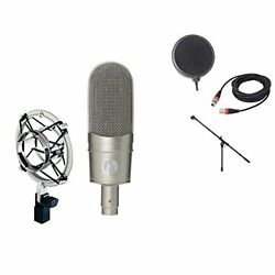 AUDIO-TECHNICA AT 4080 Ribbon Microphone Microphone Stand Cable Pop Filter Barga