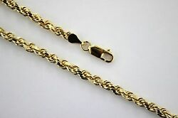 Authentic 14k Solid Yellow Gold Rope Twist Link Chain Necklace 4mm X 18 30
