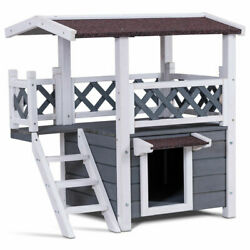 2-Story Outdoor Weatherproof Wooden Cat House Condo Shelter With Ladder
