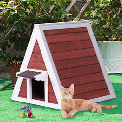 Weatherproof Wooden Cat House Furniture Shelter Condo with Eave OutdoorIndoor