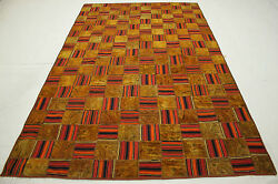 Patchwork Vintage Orient Teppich Mix 280x180 Curry Rot Used Look Handmade 2515