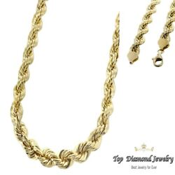 14k Solid Yellow Gold 4mm Men's Women Rope Chain Necklace Size 22-28