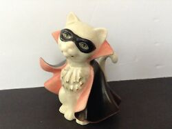 Vintage Porcelain Cat Kitten Figurine. White with Green Eyes.Black cape and mask