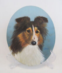 Original Hand Painted Signed Collie Sheltie Puppy Dog Portrait Oval Painting