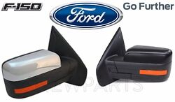 For Ford F-150 Pair Set 2 Power Fold Heated Signal Puddle Mirrors Assies Chrome