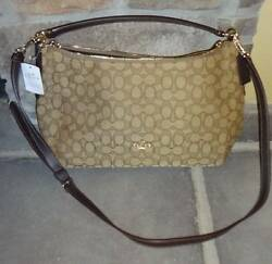 NWT COACH F54936 East West Celeste Convertible Hobo Outlined Signature Khaki Bro