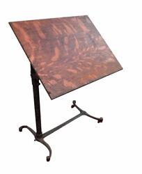 Victorian Oak Antique Writing / Drafting Table On Industrial Cast Iron Base