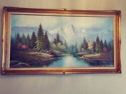 Landscape With Mountain Original P Warden Painting With Nice Frame
