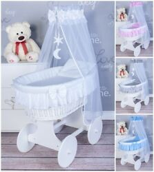 Exclusive Wicker Moses Basket With Bedding Set And Moving Wheels -7 Colours