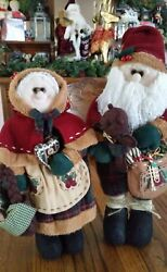 Adorable Country/rustic Santa And Mrs. Claus Christmas Decorations 14.5 Tall