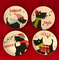 Set of 4 Scottish Terrier (Scottie Dog) Holiday Dessert Plates - New with tags