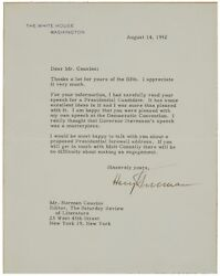 Harry S. Truman - Typed Letter Signed - Prepares For His Farewell Address