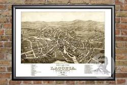 Vintage Laconia Nh Map 1883 - Historic New Hampshire Art - Victorian Industrial