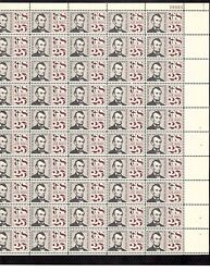 Tagged Us Airmail Scottc59,25c Stamp Abraham Lincoln Sheet Of 50 Mnh Bcv 47.50