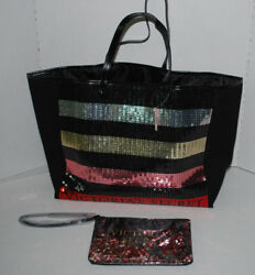 Victorias Secret Large Sequin Tote & Make-up Bag Black Logo NEW Christmas NWT