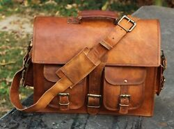 Leather Vintage Messenger Shoulder Men Satchel S Laptop 18quot; School Briefcase Bag $55.00