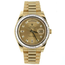 Rolex Day-Date II President 218398 Fact Diamond Bezel and Dial 18K Yellow Gold