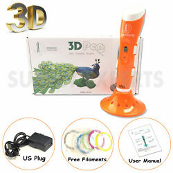 Orange 3d Printer Pen Drawing Stereoscopic + 6 Pla Filaments - Gift Set
