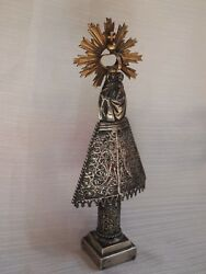 Antique Statue Our Lady Pillar Sterling Silver Gold Crown Ornate Early 1800