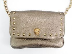 GUESS Women Metallic Bronze Studded Baroque Mini Cross-Body Handbag Bag