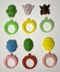 1966 Official Marvel Super Heroes Gumball Ring Set Of 6 Rare Macman Spider-man