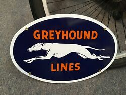 Classic Greyhound Bus Lines Top Quality Porcelain Coated 18 Gauge Steel Sign
