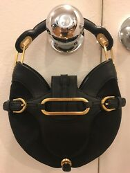 Jimmy Choo Black Satin And Leather Evening Bag With Gold Hardware