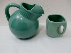 VINTAGE GREEN BALL POTTERY 4 CUP PITCHER & MUG OLD! NO MARKINGS ON EITHER ONE.