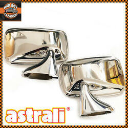 Pair Classic Polished Stainless Steel Car Door Mirrors Oe Spec Fits Mgb Midget