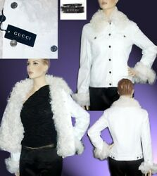 F/w 2002 Tom Ford For White Denim And Shearling Jacket