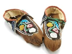 Important Pair Of Authentic Native American Beaded Moccasins, Ca. 1890-1910