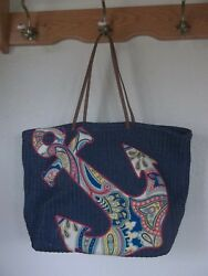 Vera Bradley Blue Straw with Anchor Pattern Extra Large Beach Tote Bag