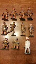 Lot 11 Vintage Antique Toy Soldiers Army Military Lead Hollow Cast Iron Metal