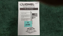 Lionel 70-2320 Flagpole Assembly Instructions Original