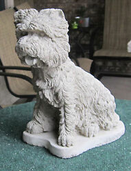 CONCRETE WEST HIGHLAND TERRIER  STATUE  MEMORIAL  GRAVE MARKER ( WESTIE )