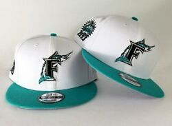New Era White  Teal Florida Marlins 1993 Inaugural Side Patch Snapback Hat