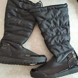 Totes Thermolite Boots Black Patent Leather Waterproof Pull On Winter Snow SZ 6M $74.95