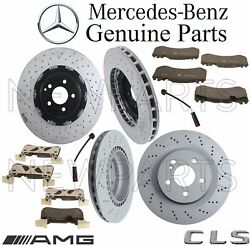 For MB W219 CLS63 AMG Front & Rear Brake Kit 4 Rotors 8 Pads 2 Sensors GENUINE