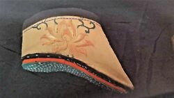 Rare Pair Of 18thc. Chinese Silk Lotus Embroidered Binding Shoes, In Display