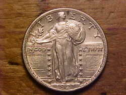 1921 Standing Liberty Quarter - Full Date/lightly Cleaned - Au/unc - X1716