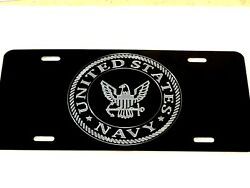Us Navy A1 Logo Car Tag Diamond Etched On Black Aluminum License Plate