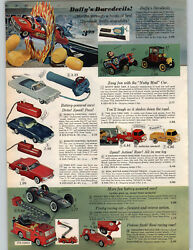 1965 Paper Ad Toy Duffy's Daredevils Launcher Ramp Race Car V-rroom Nutty Mad