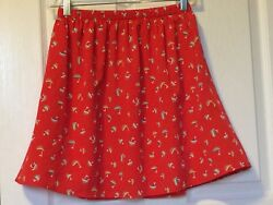 Red Mini Skirt W Sailboats by Buttons Size Small So Cute!