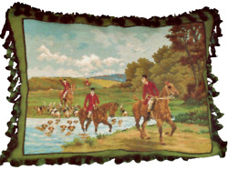 18x22 Wool Needlepoint Horse Dog Equestrian Fox Hunt The Pursuit Pillow