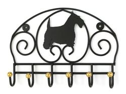 SCOTTIE DOG (Scottish Terrier) BLACK WROUGHT IRON LEASH HOLDER w BRASS DETAIL