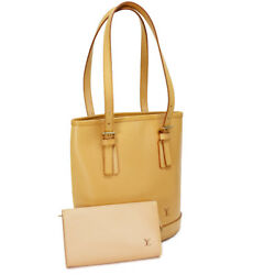 Auth LOUIS VUITTON Nomade Bucket PM M85001 Tote Bag Beige Leather