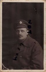 Ww1 Soldier Army Service Corps Asc In Greatcoat And Khaki Cap With Soft Peak