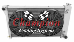3 Row Cold Champion Radiator 28 Core 2 14 Fans For 1967-1971 Chevy S/t Series