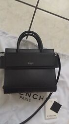 Authentic Givenchy Horizon Mini Smooth Calf Leather Satchel Bag Black $1990