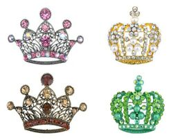 Fashion Antique Crystal Rhinestone Filigree England Queen Crown Pin Brooch Gifts